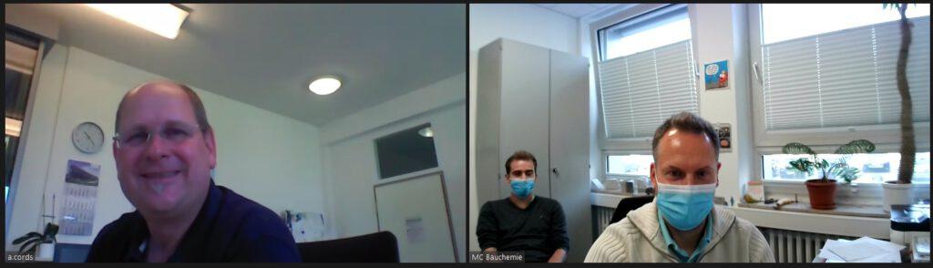 Arndt Cords von Siebert + Knipschild im Gespräch mit Sven Meßmann und Lucas Krüger von der MC-Bauchemie
